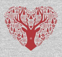 Christmas deer with red heart One Piece - Long Sleeve