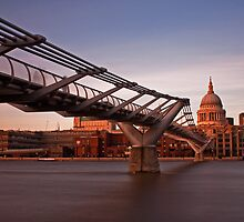 St. Paul's Cathedral and Millenium Bridge by Stuart  Gennery