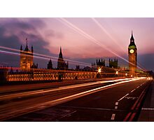 Light Trails at Westminster Photographic Print
