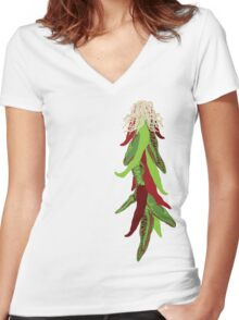 roasted chiles Women's Fitted V-Neck T-Shirt