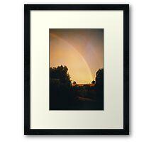 Sun shower rainbow, Hagley, Tasmania Framed Print