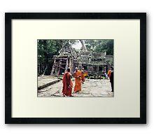 Monks in Cambodia Framed Print