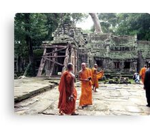 Monks in Cambodia Canvas Print
