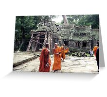 Monks in Cambodia Greeting Card
