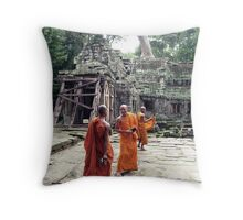 Monks in Cambodia Throw Pillow