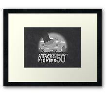 50 Foot Plumber - Black and White Framed Print