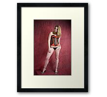 Black and red corset Framed Print
