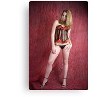Black and red corset Canvas Print
