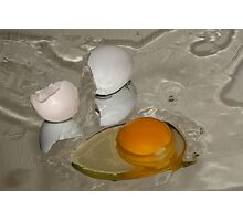 Raw egg and broken egg shell Photographic Print