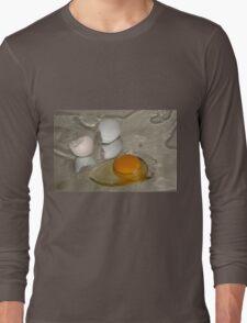 Raw egg and broken egg shell Long Sleeve T-Shirt
