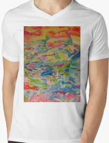 Silk Screen Mens V-Neck T-Shirt