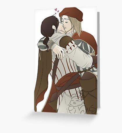 Ezio and Leonardo - I missed you Greeting Card