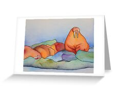 Warm Walrus Contemplating Cool Wishes Greeting Card