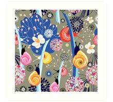 Floral pattern with bright snail Art Print