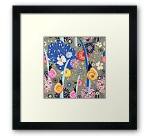 Floral pattern with bright snail Framed Print