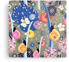 Floral pattern with bright snail Metal Print