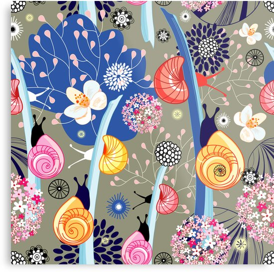 Floral pattern with bright snail by Tanor