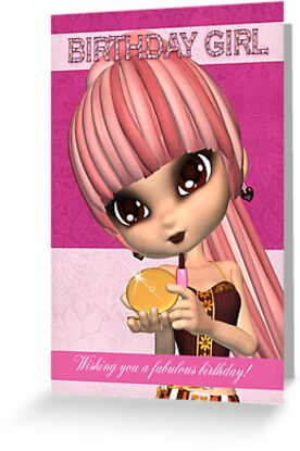 Trendy Birthday Girl Greeting Card Teenager With Compact by Moonlake