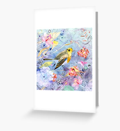 bird and flowers Greeting Card