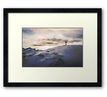 Christian Cross On Mountain Framed Print