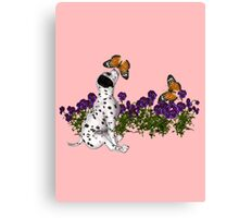 Dalmatian Puppy Butterflies Flowers  Canvas Print