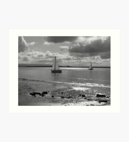 Yachts off Burnham-on-Sea Art Print