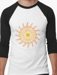 Psychedelic fire ornament sun Men's Baseball ¾ T-Shirt
