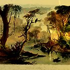 Cutoff River, branch of the Wabash from an aquatint by Karl Bodmer 19th century by Dennis Melling