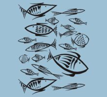 Small Fishes BW One Piece - Short Sleeve