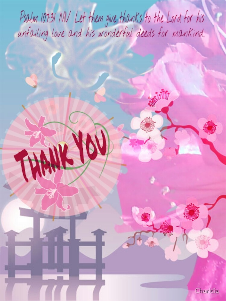 Thank You Card ( with praise scriptures) by Charldia