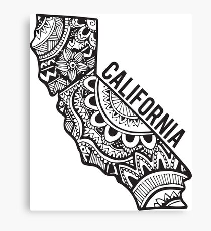 California Zentangle Canvas Print