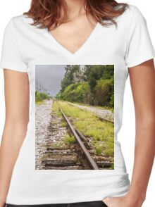 Standing By Me a Railroad Adventure Women's Fitted V-Neck T-Shirt