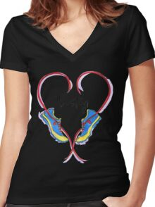 Hearts For Boston! Women's Fitted V-Neck T-Shirt