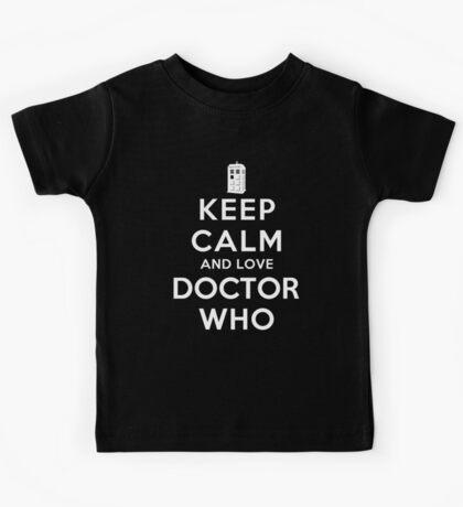 Keep Calm and Love Doctor Who (Dark Colors) Kids Tee