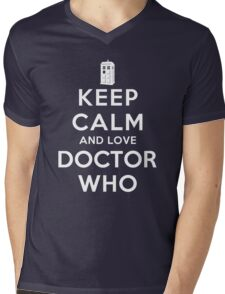 Keep Calm and Love Doctor Who (Dark Colors) Mens V-Neck T-Shirt