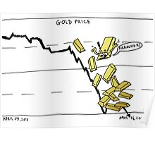 Gold falling comic Poster