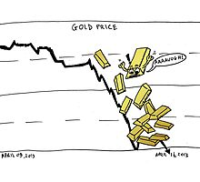 Gold falling comic Photographic Print