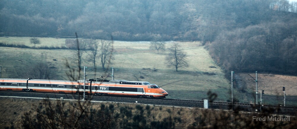 TGV coming at 275kph nr Cluny 19840307 0008 by Fred Mitchell