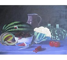 still life painting (water millon, red grapes,pumpkin and the apples Photographic Print
