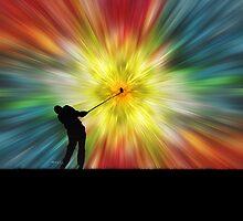 Tie Dye Silhouette Golfer by Phil Perkins