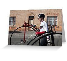 Uber cool Penny farthing dude Greeting Card