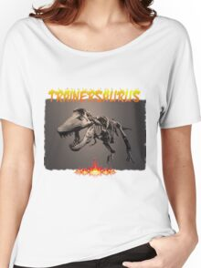 TRAINERSAURUS ON FIRE Women's Relaxed Fit T-Shirt