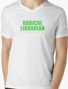 Radical Librarian (Green) Mens V-Neck T-Shirt