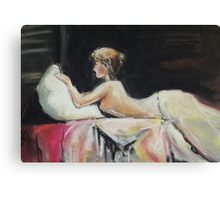 Semi Nude on Bed Canvas Print