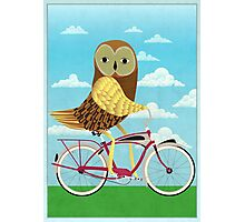 Owl Bicycle Photographic Print