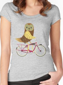 Owl Bicycle Women's Fitted Scoop T-Shirt