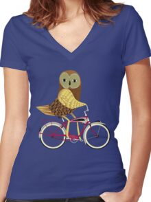 Owl Bicycle Women's Fitted V-Neck T-Shirt