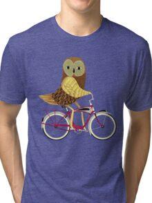 Owl Bicycle Tri-blend T-Shirt