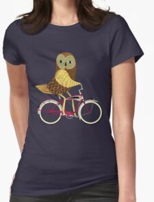 Owl Bicycle Womens Fitted T-Shirt