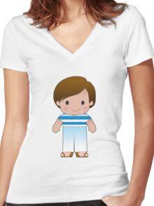 Poppy Greek Boy Women's Fitted V-Neck T-Shirt